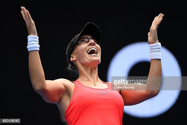 Mirjana LucicBaroni of Croatia celebrates winning her fourth round match against Jennifer Brady of the United States on day eight of the 2017...