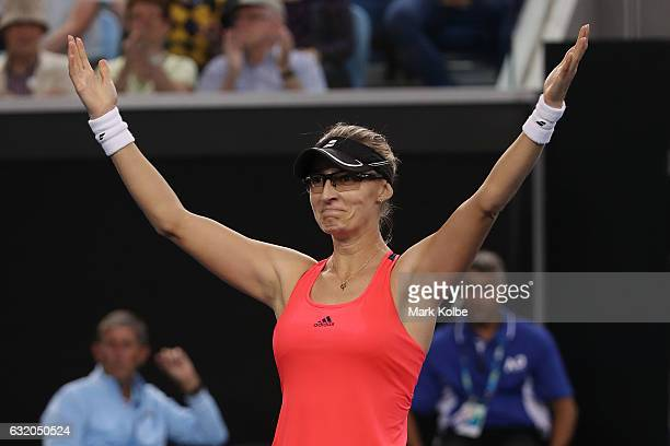 Mirjana LucicBaroni of Croatia celebrates winning her second round match against Agnieszka Radwanska of Poland on day four of the 2017 Australian...