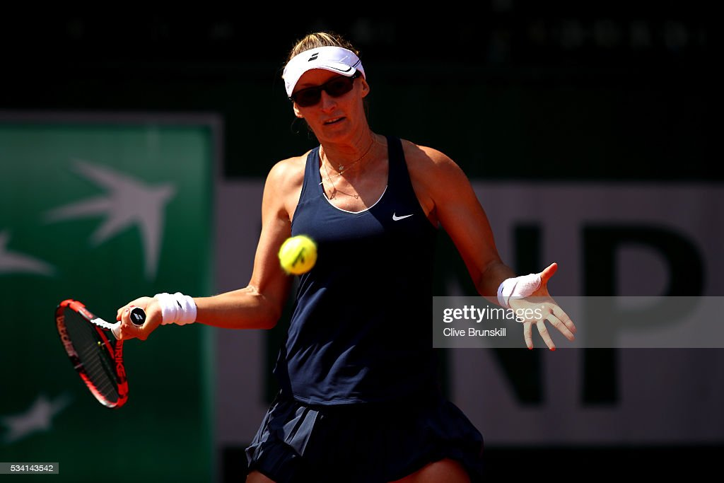 <a gi-track='captionPersonalityLinkClicked' href=/galleries/search?phrase=Mirjana+Lucic&family=editorial&specificpeople=4009005 ng-click='$event.stopPropagation()'>Mirjana Lucic</a>-Baroni of Croatia hits a forehand during the Ladies Singles second round match against Naomi Osaka of Japan at Roland Garros on May 25, 2016 in Paris, France.
