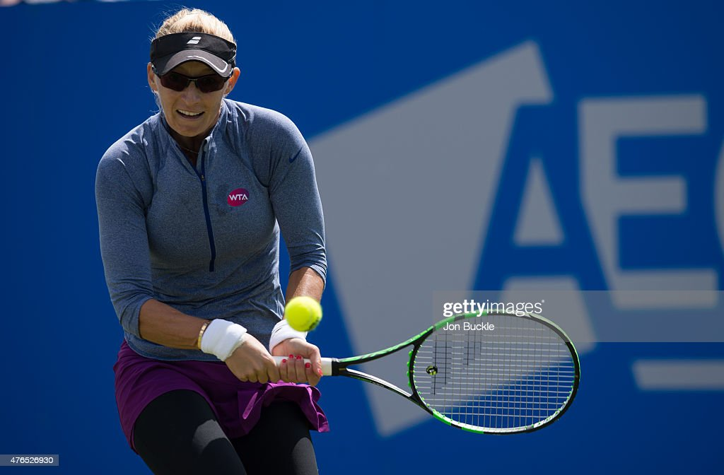 Mirjana Lucic-Baroni of Croatia in action during her match against Alison Riske of USA on day three of the WTA Aegon Open Nottingham at Nottingham Tennis Centre on June 10, 2015 in Nottingham, England.