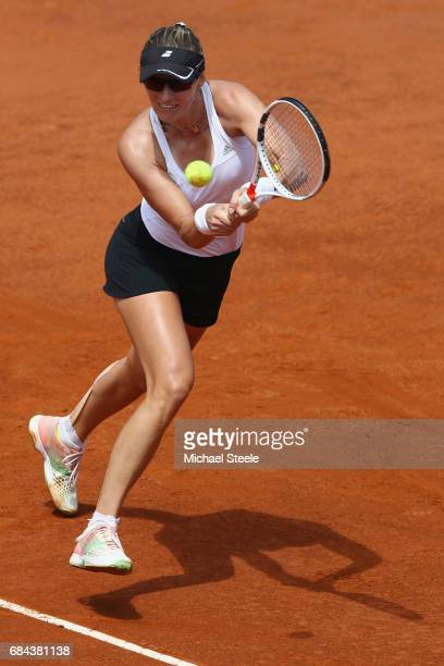 Mirjana LucicBaroni of Croatia in action during the women's third round match against Anett Kontaveit of Estonia on Day Five of the Internazionali...