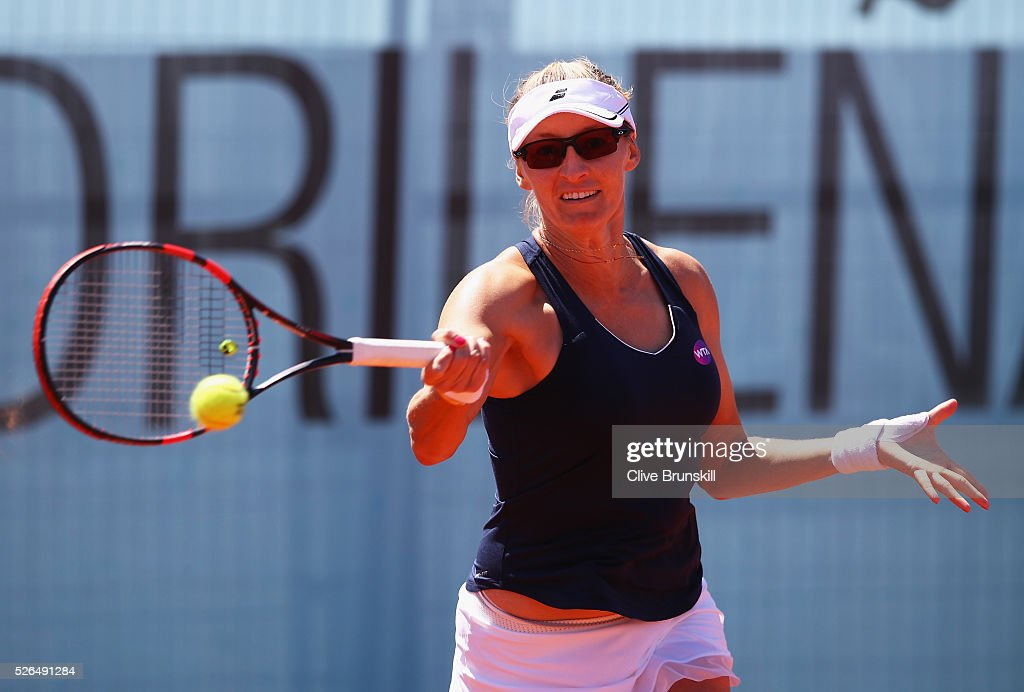 Mirjana Lucic-Baroni of Croatia plays a forehand against Heather Watson of Great Britain in their second round qualifying match during day one of the Mutua Madrid Open tennis tournament at the Caja Magica on April 30, 2016 in Madrid, Spain. .