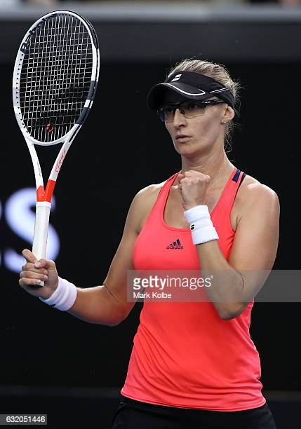 Mirjana LucicBaroni of Croatia reacts in her second round match against Agnieszka Radwanska of Poland on day four of the 2017 Australian Open at...