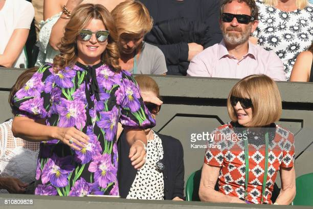 Mirka Federer and Anna Wintour attend day six of the Wimbledon Tennis Championships at the All England Lawn Tennis and Croquet Club on July 8 2017 in...