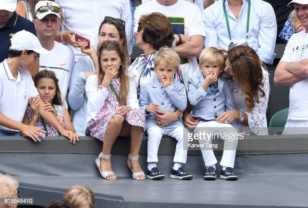 Mirka Federer and her children attend the Mens Singles Final during day thirteen of the Wimbledon Tennis Championships at the All England Lawn Tennis...