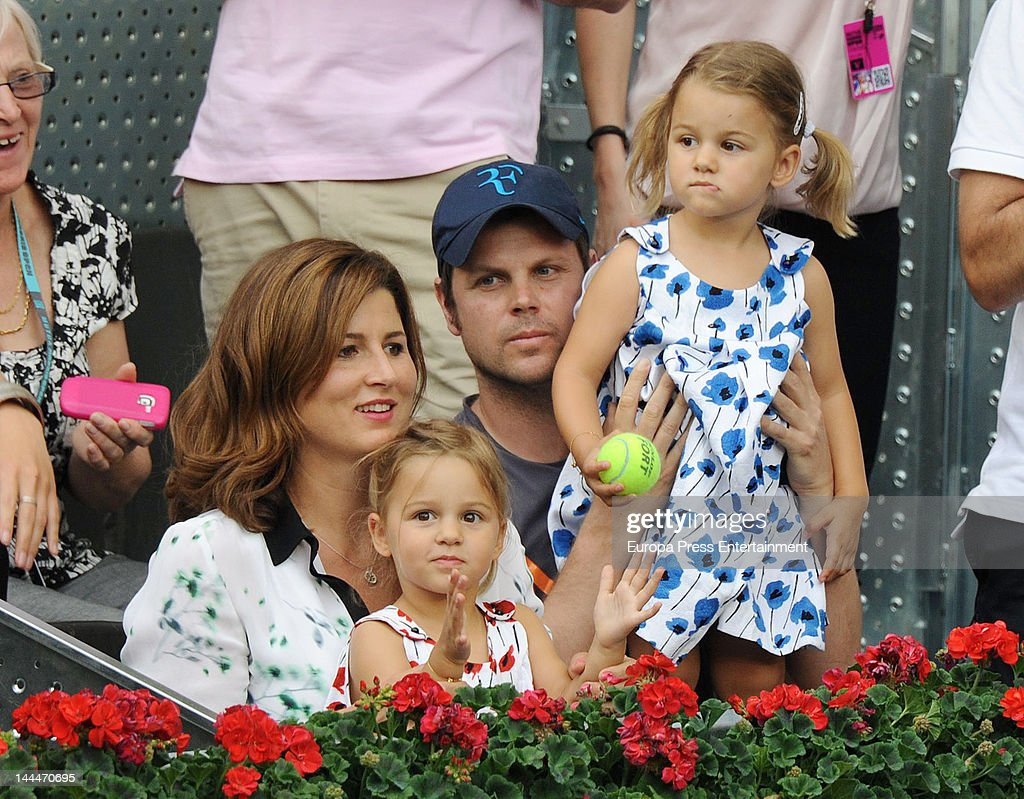 <a gi-track='captionPersonalityLinkClicked' href=/galleries/search?phrase=Mirka+Federer&family=editorial&specificpeople=5876523 ng-click='$event.stopPropagation()'>Mirka Federer</a> and her twin-daughters Myla Rose and Charlene Riva attend Mutua Madrilena Madrid Open on May 13, 2012 in Madrid, Spain.