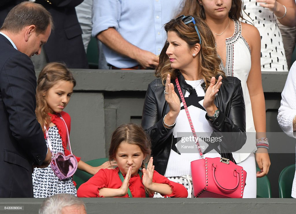 <a gi-track='captionPersonalityLinkClicked' href=/galleries/search?phrase=Mirka+Federer&family=editorial&specificpeople=5876523 ng-click='$event.stopPropagation()'>Mirka Federer</a> and twin daughters <a gi-track='captionPersonalityLinkClicked' href=/galleries/search?phrase=Myla+Rose+Federer&family=editorial&specificpeople=8820742 ng-click='$event.stopPropagation()'>Myla Rose Federer</a> and <a gi-track='captionPersonalityLinkClicked' href=/galleries/search?phrase=Charlene+Riva+Federer&family=editorial&specificpeople=8820743 ng-click='$event.stopPropagation()'>Charlene Riva Federer</a> (in red) attend day one of the Wimbledon Tennis Championships at Wimbledon on June 27, 2016 in London, England.