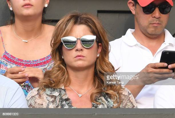Mirka Federer attends day four of the Wimbledon Tennis Championships at the All England Lawn Tennis and Croquet Club on July 6 2017 in London United...
