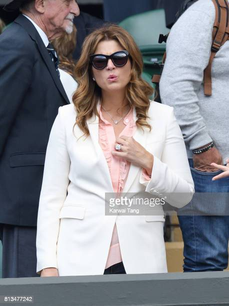 Mirka Federer attends day nine of the Wimbledon Tennis Championships at the All England Lawn Tennis and Croquet Club on July 12 2017 in London United...