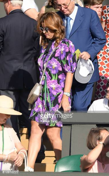Mirka Federer attends day six of the Wimbledon Tennis Championships at the All England Lawn Tennis and Croquet Club on July 8 2017 in London United...