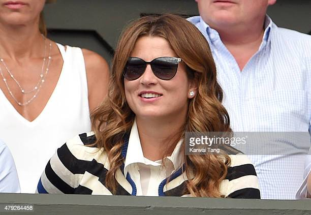 Mirka Federer attends the Sam Querry v Roger Federer match on day four of the Wimbledon Tennis Championships at Wimbledon on July 2 2015 in London...