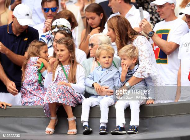 Mirka Federer celebrates Roger Federer's victory over Marin Cilic in the Gentlemen's Single's Final on day thirteen of the Wimbledon Championships at...