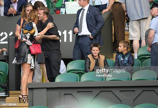 Mirka Federer David Beckham with sons Cruz and Romeo attend day nine of the Wimbledon Tennis Championships at Wimbledon on July 06 2016 in London...