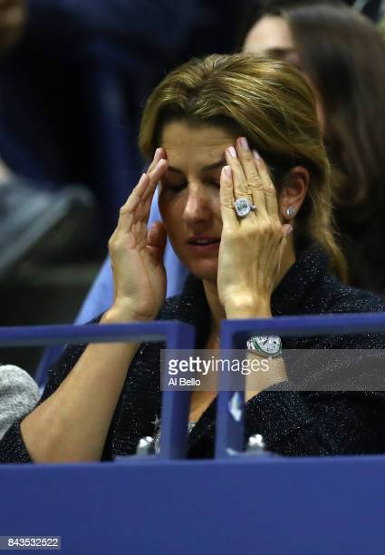 Mirka Federer reacts as her husband Roger Federer of Switzerland plays against Juan Martin del Potro of Argentina during their Men's Singles...