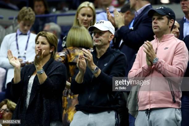 Mirka Federer reacts as her husband Roger Federer of Switzerland play against Juan Martin del Potro of Argentina during their Men's Singles...