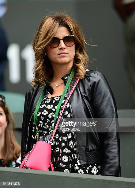 Mirka Federer wife of Roger Federer arrives on centre court on the eighth day of the 2016 Wimbledon Championships at The All England Lawn Tennis Club...