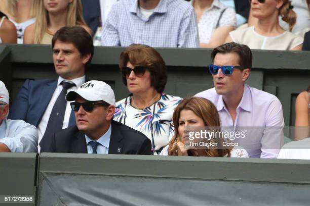 Mirka Federer wife of Roger Federer watches the Gentlemen's Singles final during the Wimbledon Lawn Tennis Championships at the All England Lawn...
