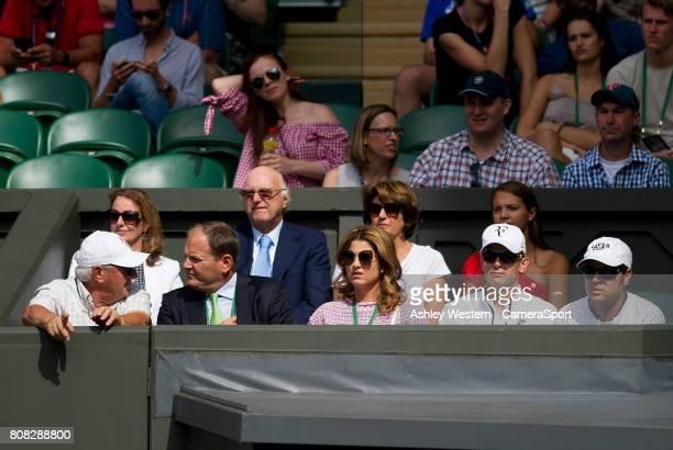 Mirka Federer wife of Roger looks on during the Roger Federer/Alexandr Dolgopolov Men's Singles First Round Matchat Wimbledon on July 4 2017 in...
