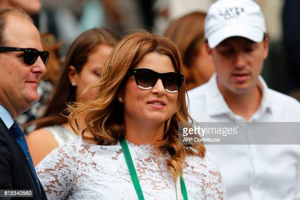 Mirka Federer wife of Switzerland's Roger Federer takes her seat on Centre Court for the men's singles final match on the last day of the 2017...