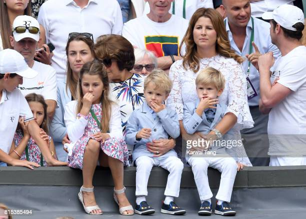 Mirka Federer with her children Myla Charlene Leo and Lenny attend day 13 of Wimbledon 2017 on July 16 2017 in London England