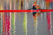 Mirka Knapkova of the Czech Republic rows after winning her Women's Single Skull heat on August 14 2004 during the Athens 2004 Summer Olympic Games...