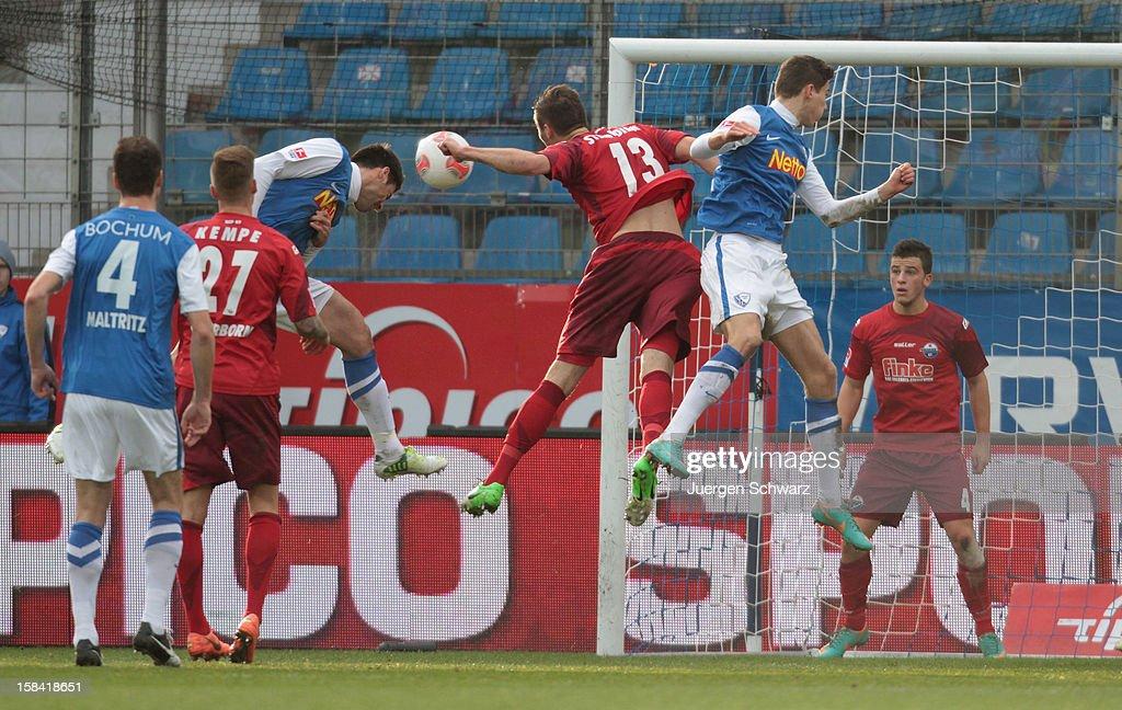 Mirkan Aydin of Bochum heads the ball to score during the Second Bundesliga match between VfL Bochum and SC Paderborn at Rewirpower Stadium on...