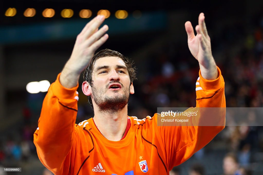 Mirko Aillovic of Croatia cdelebrates after the Men's Handball World Championship 2013 third place match between Slovenia and Croatia at Palau Sant Jordi on January 26, 2013 in Barcelona, Spain. The match between Slovenija and Croatia ended 26-31.