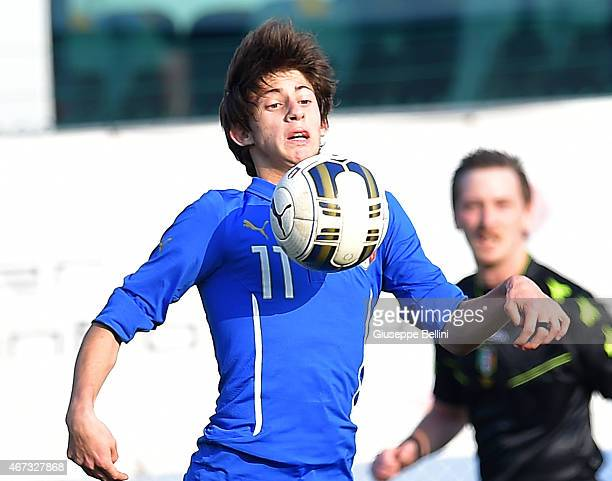 Mirko Antonucci of Italy in action during the international friendly match between U16 Italy and U16 Germany on March 18 2015 in Recanati Italy