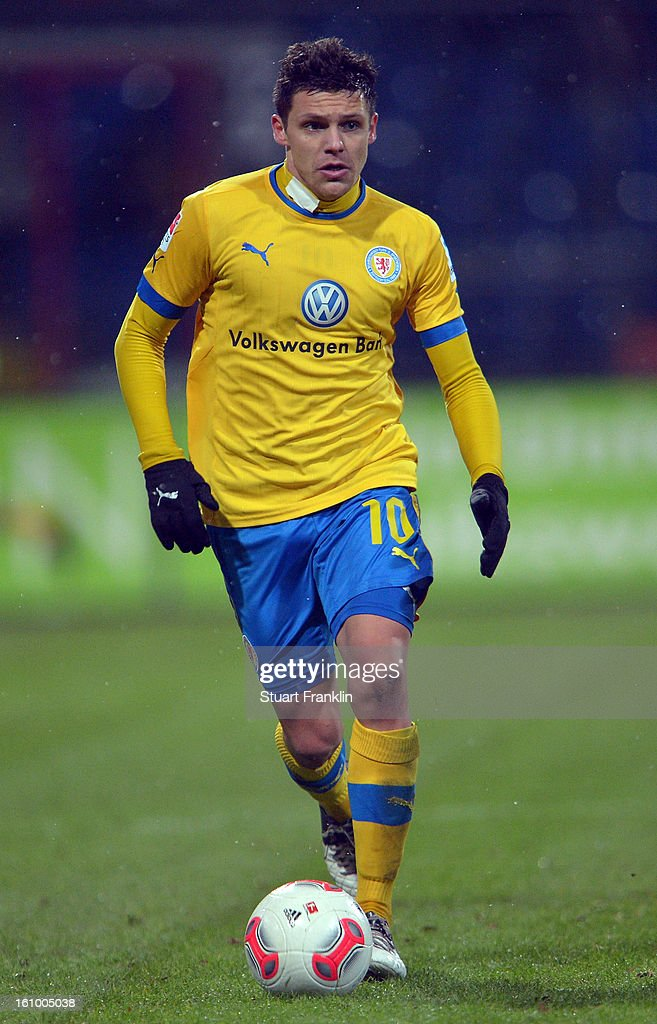 Mirko Boland of Braunschweig in action during the second Bundesliga match between Eintracht Braunschweig and VfR Aalen at Eintracht Stadion on February 8, 2013 in Braunschweig, Germany.
