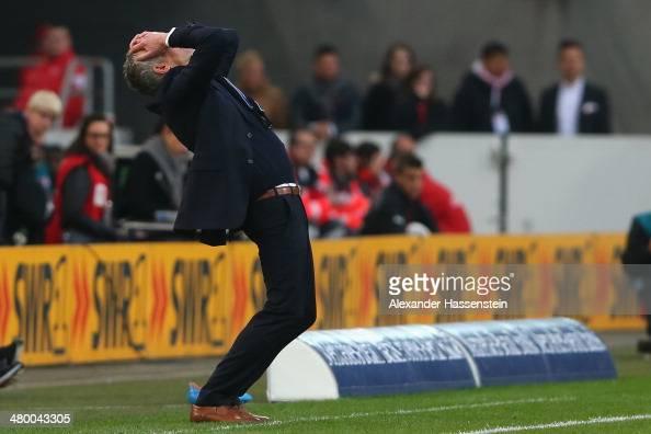 Mirko Slomka head coach of Hamburg reacts during the Bundesliga match between VfB Stuttgart and Hamburger SV at MercedesBenz Arena on March 22 2014...