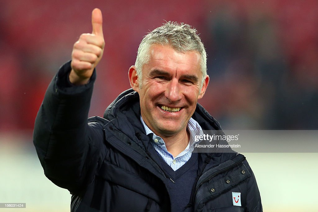 <a gi-track='captionPersonalityLinkClicked' href=/galleries/search?phrase=Mirko+Slomka&family=editorial&specificpeople=874525 ng-click='$event.stopPropagation()'>Mirko Slomka</a>, head coach of Hannover reacts after the Bundesliga match between VfB Stuttgart and Hannover 96 at Mercedes-Benz Arena on November 11, 2012 in Stuttgart, Germany.