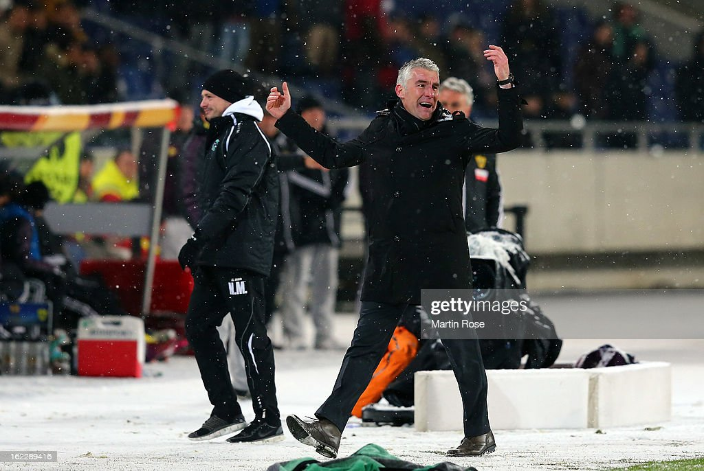 <a gi-track='captionPersonalityLinkClicked' href=/galleries/search?phrase=Mirko+Slomka&family=editorial&specificpeople=874525 ng-click='$event.stopPropagation()'>Mirko Slomka</a>, head coach of Hannoverl reacts during the UEFA Europa League Round of 32 second leg match between Hannover 96 and Anji Makhachkala at AWD Arena on February 21, 2013 in Hannover, Germany.