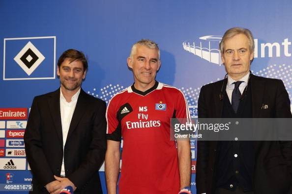 Mirko Slomka is presented as new head coach of Hamburger SV by Oliver Kreutzer sports director and president Carl Egar Jarchow on February 17 2014 in...