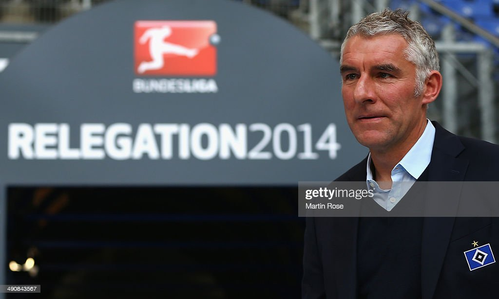 Mirko Slomka,head coach of Hamburg reacts before during the 1. Bundesliga Playoff First Leg match between between Hamburger SV and Greuther Fuerth at Imtech Arena on May 15, 2014 in Hamburg, Germany.