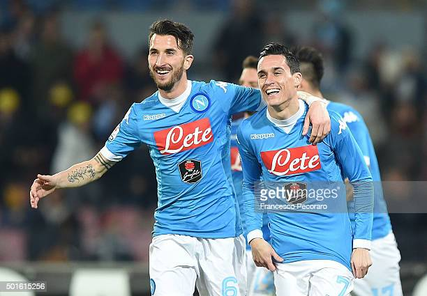 Mirko Valdifiori and Josè Maria Callejon of Napoli celebrate a goal 30 scored by Josè Maria Callejon during the TIM Cup match between SSC Napoli and...
