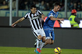 Mirko Valdifiori of Empoli FC battles for the ball with Sebastian Giovinco of Juventus FC during the Serie A match between Empoli FC and Juventus FC...