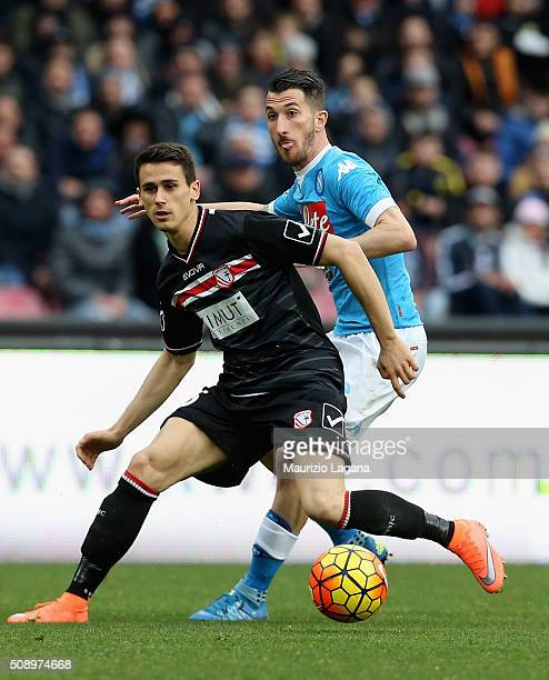 Mirko Valdifiori of Napoli competes for the ball with Kevin Lasagna of Carpi during the Serie A match between SSC Napoli and Carpi FC at Stadio San...