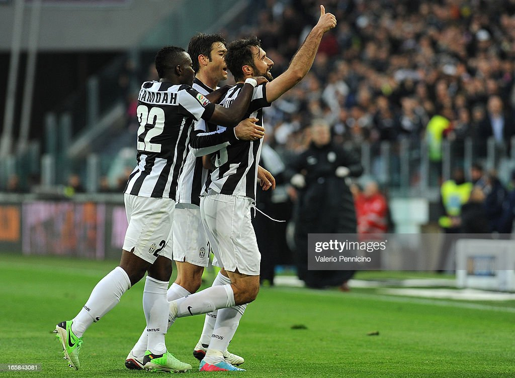 <a gi-track='captionPersonalityLinkClicked' href=/galleries/search?phrase=Mirko+Vucinic&family=editorial&specificpeople=860475 ng-click='$event.stopPropagation()'>Mirko Vucinic</a> (R) of Juventus celebrates his second goal during the Serie A match between Juventus and Pescara at Juventus Arena on April 6, 2013 in Turin, Italy.