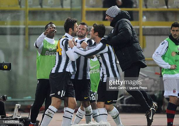 Mirko Vucinic of Juventus FC celebrates with his teammates after scoring a goal during the Serie A match between Bologna FC and Juventus FC at Stadio...