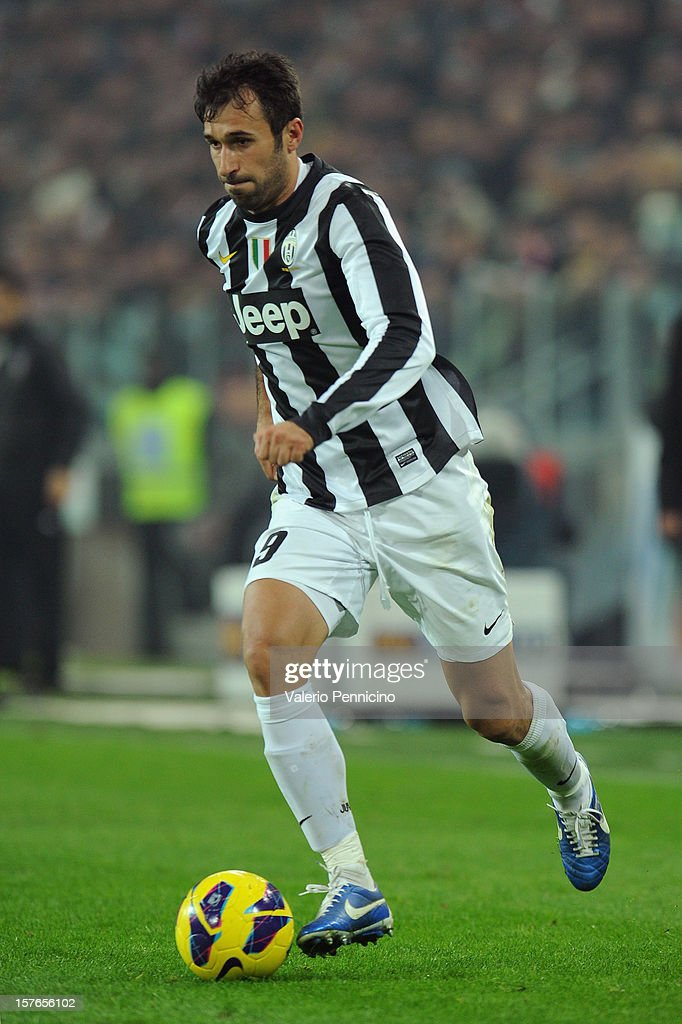 Mirko Vucinic of Juventus in action during the Serie A match between Juventus and Torino FC at Juventus Arena on December 1, 2012 in Turin, Italy.