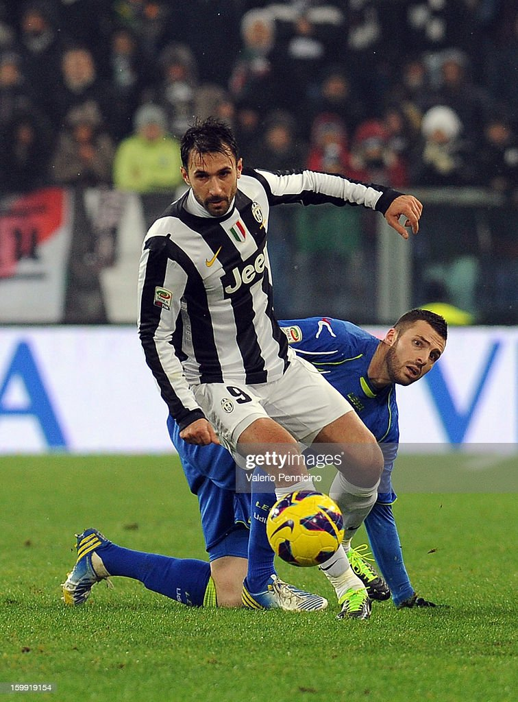 <a gi-track='captionPersonalityLinkClicked' href=/galleries/search?phrase=Mirko+Vucinic&family=editorial&specificpeople=860475 ng-click='$event.stopPropagation()'>Mirko Vucinic</a> (C) of Juventus in action during the Serie A match between Juventus and Udinese Calcio at Juventus Arena on January 19, 2013 in Turin, Italy.