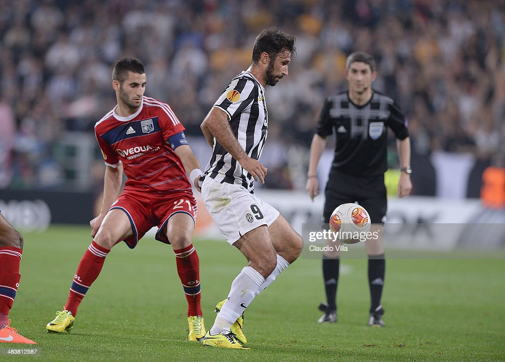 Mirko Vucinic of Juventus #9 in action during the UEFA Europa League quarter final match between Juventus and Olympique Lyonnais at Juventus Arena on April 10, 2014 in Turin, Italy.