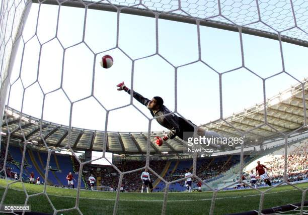 Mirko Vucinic of Roma scores a goal during the Serie A match between Torino and Roma at the Stadio Olimpico on April 05 2008 in Rome Italy