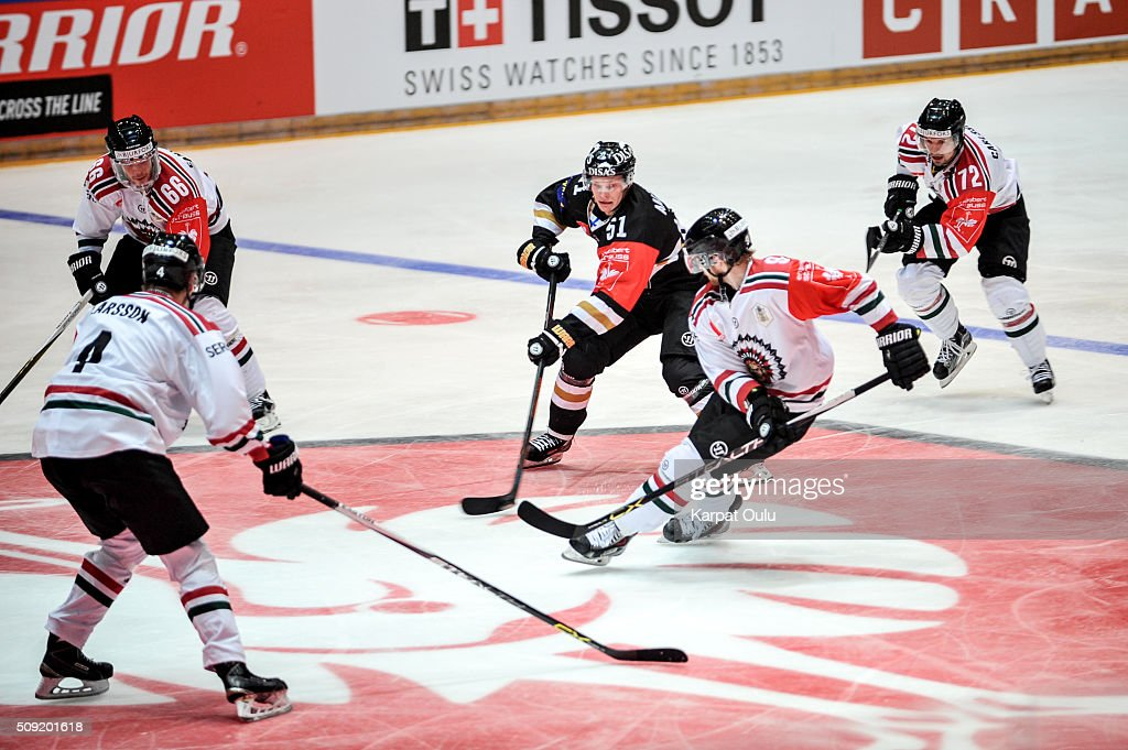 Miro Aaltonen #51 of Karpat Oulu and Spencer Abbott #9 of Frolunda Gothenburg during the Champions Hockey League final between Karpat Oulu and Frolunda Gothenburg at Oulun Energia-Areena on February 9, 2016 in Oulu, Finland.