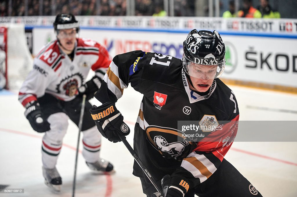 Miro Aaltonen #51 of Karpat Oulu and Tom Nilsson #43 of Frolunda Gothenburg during the Champions Hockey League final between Karpat Oulu and Frolunda Gothenburg at Oulun Energia-Areena on February 9, 2016 in Oulu, Finland.