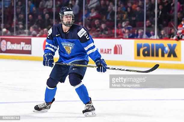 Miro Heiskanen of Team Finland skates during the IIHF World Junior Championship preliminary round game against Team Czech Republic at the Bell Centre...