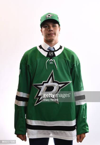 Miro Heiskanen poses for a portrait after being selected third overall by the Dallas Stars during the 2017 NHL Draft at the United Center on June 23...