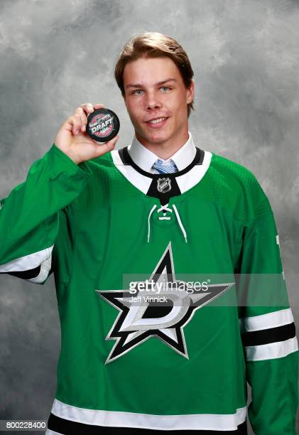 Miro Heiskanen third overall pick of the Dallas Stars poses for a portrait during Round One of the 2017 NHL Draft at United Center on June 23 2017 in...
