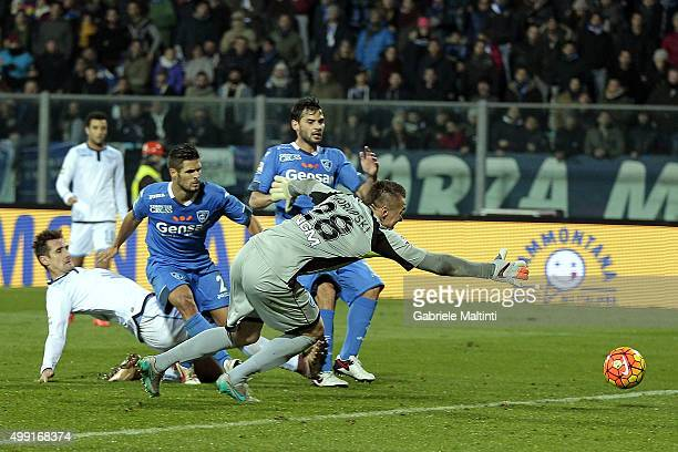 Mirolsvav Klose of SS Lazio shoots a goal which was cancelled during the Serie A match between Empoli FC and SS Lazio at Stadio Carlo Castellani on...