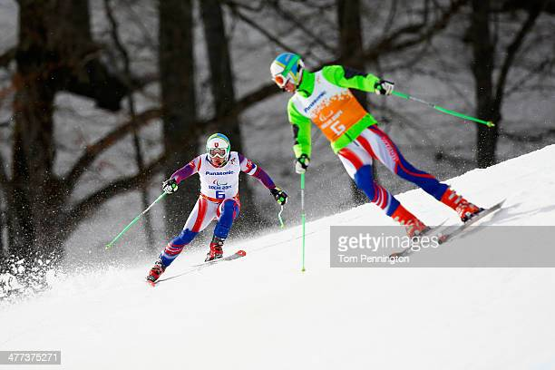 Miroslav Haraus of Slovakia and guide Maros Hudik competes in the Men's Super G Visually Impaired during day two of Sochi 2014 Paralympic Winter...
